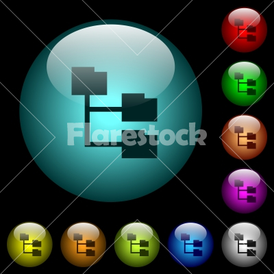 Folder structure icons in color illuminated glass buttons - Folder structure icons in color illuminated spherical glass buttons on black background. Can be used to black or dark templates