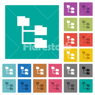 Folder structure square flat multi colored icons - Folder structure multi colored flat icons on plain square backgrounds. Included white and darker icon variations for hover or active effects.
