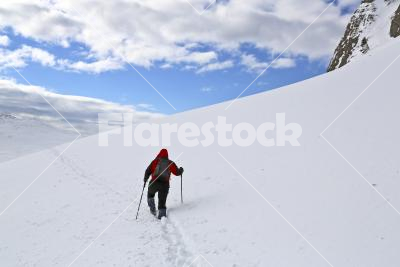 Footprints - A lonely hiker walking on a mountain