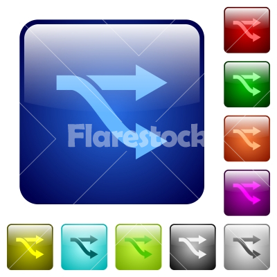 Fork color square buttons - Fork icons in rounded square color glossy button set