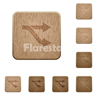Fork wooden buttons - Fork on rounded square carved wooden button styles