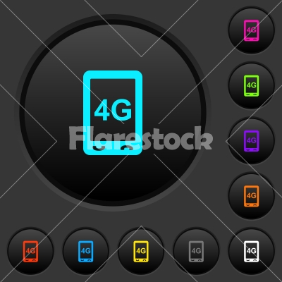 Fourth generation mobile connection speed dark push buttons with color icons - Fourth generation mobile connection speed dark push buttons with vivid color icons on dark grey background