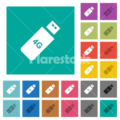 Fourth generation mobile stick square flat multi colored icons - Fourth generation mobile stick multi colored flat icons on plain square backgrounds. Included white and darker icon variations for hover or active effects.