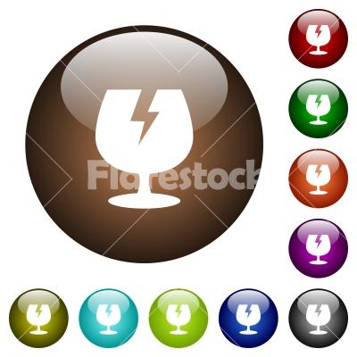 Fragile symbol color glass buttons - Fragile symbol white icons on round color glass buttons