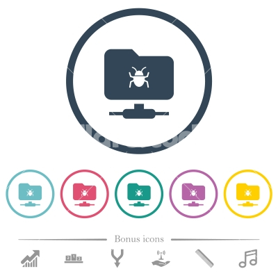 FTP bug flat color icons in round outlines - FTP bug flat color icons in round outlines. 6 bonus icons included.