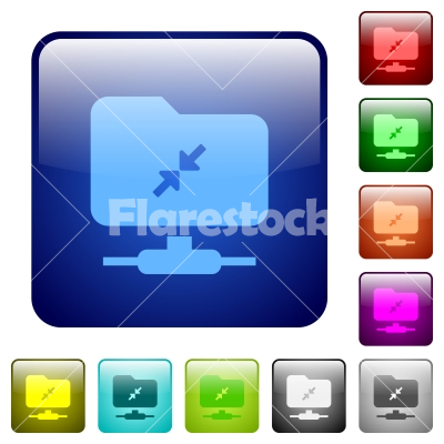 FTP compression color square buttons - FTP compression icons in rounded square color glossy button set