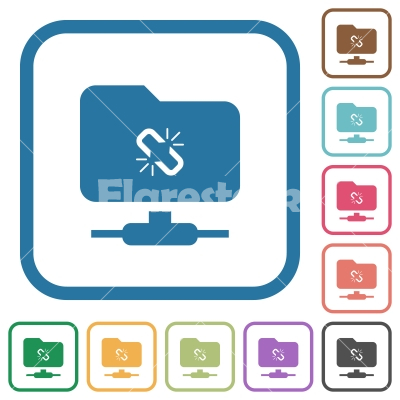 FTP connection lost simple icons - FTP connection lost simple icons in color rounded square frames on white background