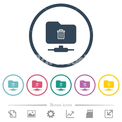 FTP delete flat color icons in round outlines - FTP delete flat color icons in round outlines. 6 bonus icons included.