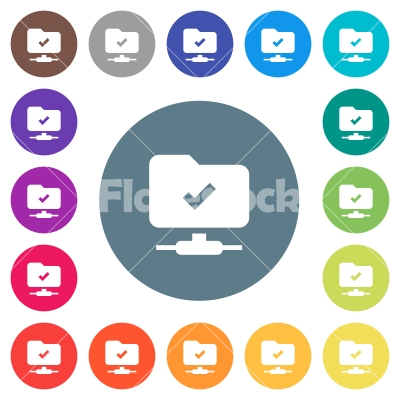 FTP operation successful flat white icons on round color backgrounds - FTP operation successful flat white icons on round color backgrounds. 17 background color variations are included.