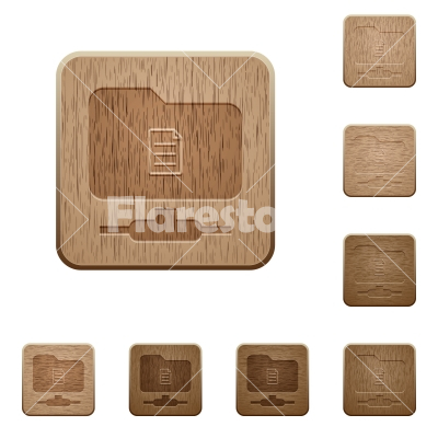 FTP properties wooden buttons - FTP properties on rounded square carved wooden button styles
