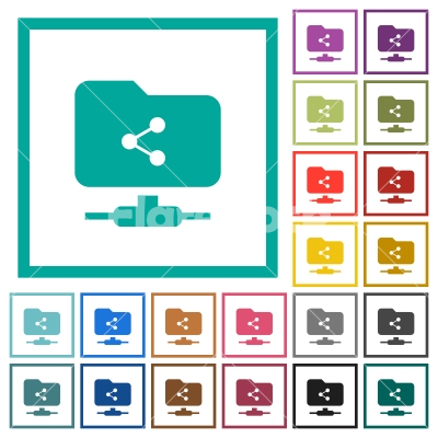 FTP share flat color icons with quadrant frames - FTP share flat color icons with quadrant frames on white background