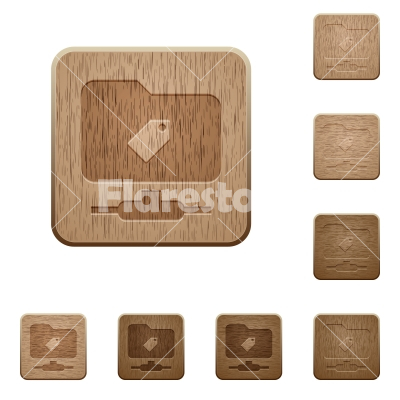 FTP tag wooden buttons - FTP tag on rounded square carved wooden button styles
