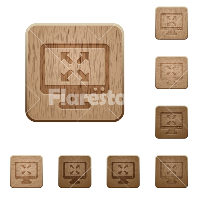 Fullscreen view wooden buttons - Set of carved wooden Fullscreen view buttons in 8 variations.
