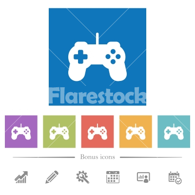 Game controller flat white icons in square backgrounds - Game controller flat white icons in square backgrounds. 6 bonus icons included.