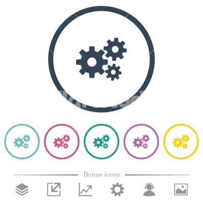 Gears flat color icons in round outlines - Gears flat color icons in round outlines. 6 bonus icons included.