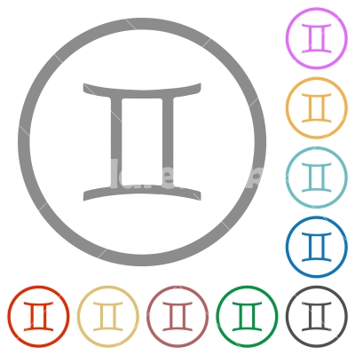 Gemini zodiac symbol flat icons with outlines - Gemini zodiac symbol flat color icons in round outlines on white background