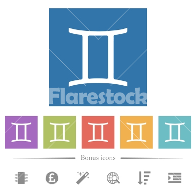 Gemini zodiac symbol flat white icons in square backgrounds - Gemini zodiac symbol flat white icons in square backgrounds. 6 bonus icons included.