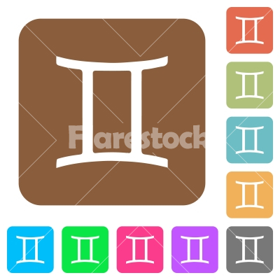 Gemini zodiac symbol rounded square flat icons - Gemini zodiac symbol flat icons on rounded square vivid color backgrounds.