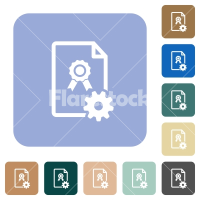 Generating certificate rounded square flat icons - Generating certificate white flat icons on color rounded square backgrounds