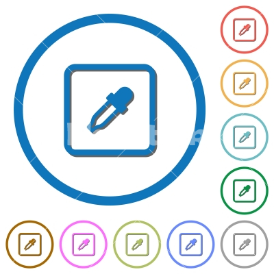 Get object color icons with shadows and outlines - Get object color flat color vector icons with shadows in round outlines on white background