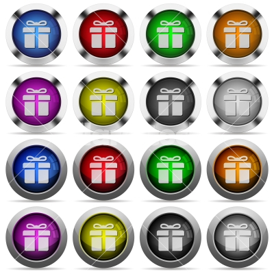 Gift button set - Set of gift glossy web buttons. Arranged layer structure.