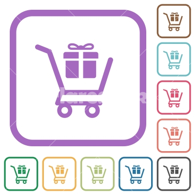 Gift shopping simple icons - Gift shopping simple icons in color rounded square frames on white background