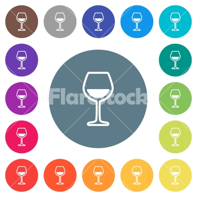 Glass of wine flat white icons on round color backgrounds - Glass of wine flat white icons on round color backgrounds. 17 background color variations are included.