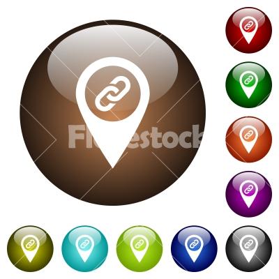 GPS map location attachment color glass buttons - GPS map location attachment white icons on round color glass buttons