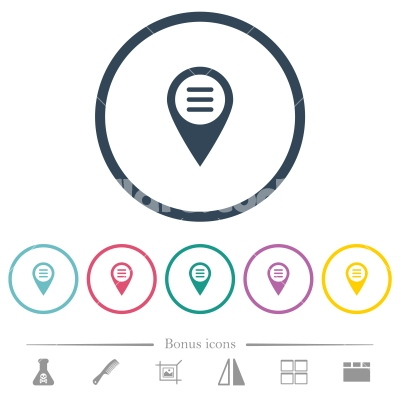 GPS map location options flat color icons in round outlines - GPS map location options flat color icons in round outlines. 6 bonus icons included.