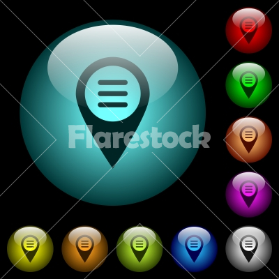 GPS map location options icons in color illuminated glass buttons - GPS map location options icons in color illuminated spherical glass buttons on black background. Can be used to black or dark templates