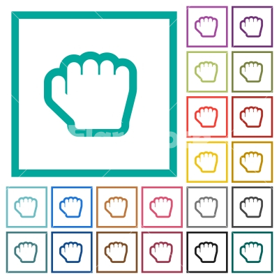 Grab cursor flat color icons with quadrant frames - Grab cursor flat color icons with quadrant frames on white background