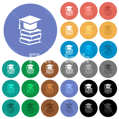 Graduation cap with books round flat multi colored icons - Graduation cap with books multi colored flat icons on round backgrounds. Included white, light and dark icon variations for hover and active status effects, and bonus shades.