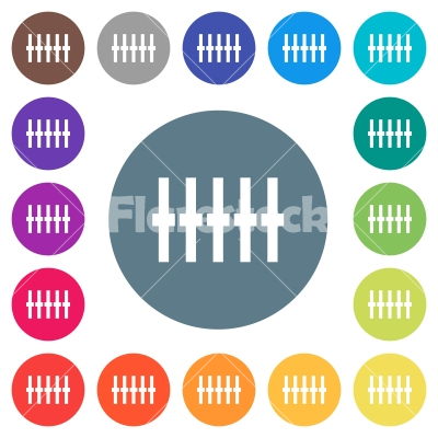 Graphical equalizer flat white icons on round color backgrounds - Graphical equalizer flat white icons on round color backgrounds. 17 background color variations are included.