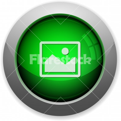 Green image button - Green glossy steel image button. Arranged layer structure. - Free stock vector