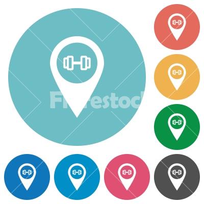 Gym GPS map location flat round icons - Gym GPS map location flat white icons on round color backgrounds