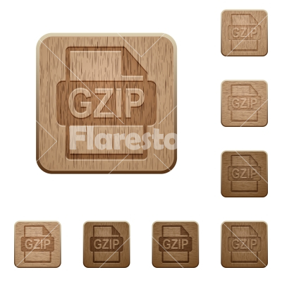 GZIP file format wooden buttons - GZIP file format icons in carved wooden button styles