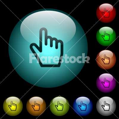 Hand cursor icons in color illuminated glass buttons - Hand cursor icons in color illuminated spherical glass buttons on black background. Can be used to black or dark templates