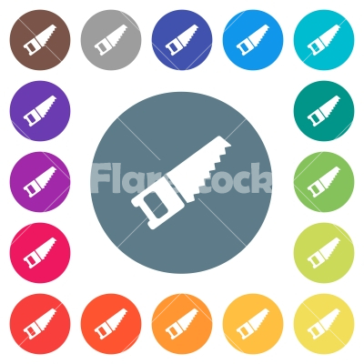 Hand saw flat white icons on round color backgrounds - Hand saw flat white icons on round color backgrounds. 17 background color variations are included.