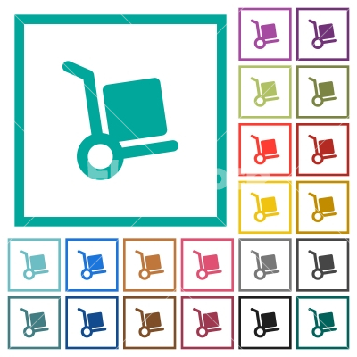 Hand truck flat color icons with quadrant frames - Hand truck flat color icons with quadrant frames on white background - Free stock vector