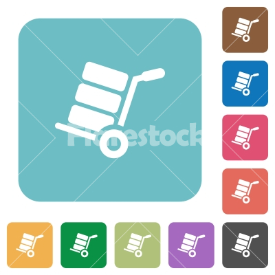 Hand truck with boxes rounded square flat icons - Hand truck with boxes white flat icons on color rounded square backgrounds - Free stock vector