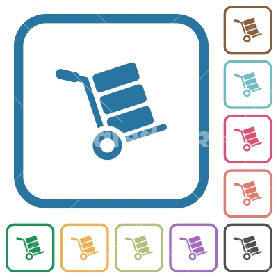 Hand truck with boxes simple icons - Hand truck with boxes simple icons in color rounded square frames on white background