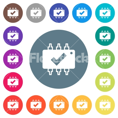 Hardware checked flat white icons on round color backgrounds - Hardware checked flat white icons on round color backgrounds. 17 background color variations are included.