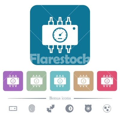Hardware diagnostics flat icons on color rounded square backgrounds - Hardware diagnostics white flat icons on color rounded square backgrounds. 6 bonus icons included