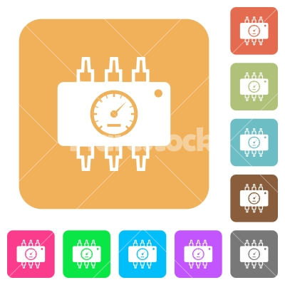 Hardware diagnostics rounded square flat icons - Hardware diagnostics flat icons on rounded square vivid color backgrounds.