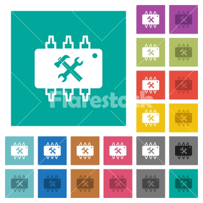 Hardware maintenance square flat multi colored icons - Hardware maintenance multi colored flat icons on plain square backgrounds. Included white and darker icon variations for hover or active effects.