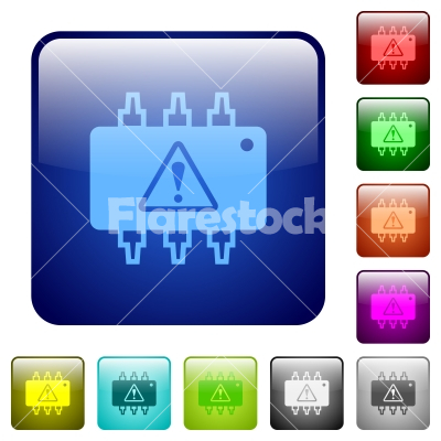 Hardware malfunction color square buttons - Hardware malfunction icons in rounded square color glossy button set