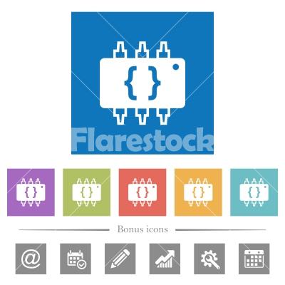 Hardware programming flat white icons in square backgrounds - Hardware programming flat white icons in square backgrounds. 6 bonus icons included.