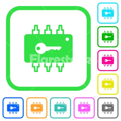 Hardware security vivid colored flat icons - Hardware security vivid colored flat icons in curved borders on white background