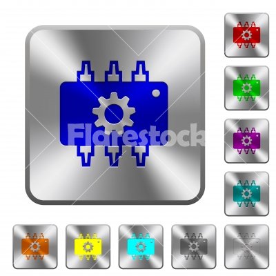 Hardware settings rounded square steel buttons - Hardware settings engraved icons on rounded square glossy steel buttons