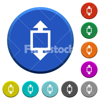 Height tool beveled buttons - Height tool round color beveled buttons with smooth surfaces and flat white icons